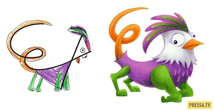 Художник превращает детские каракули в полноценные рисунки (11 фото)