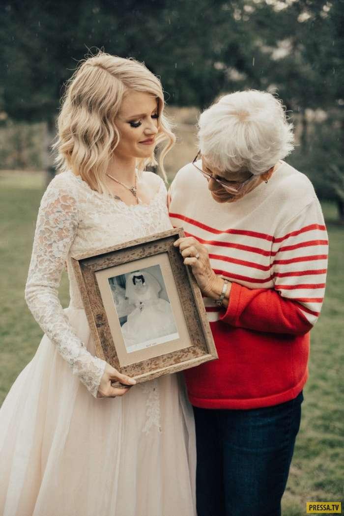 Реакция этой бабушки, которая увидела свое свадебное платье, растопит Ваше сердце (8 фото)
