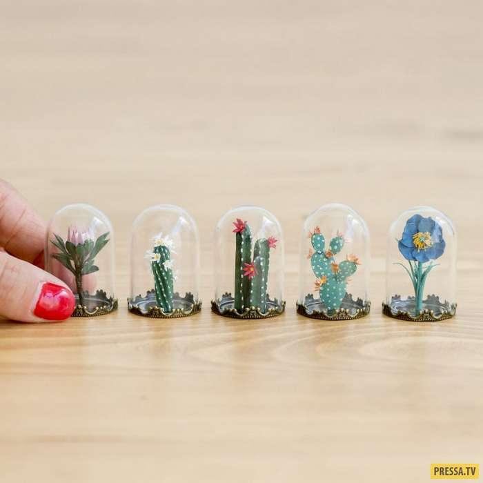 Филигранные миниатюрные растения, которые делаются на протяжении целого дня (9 фото)