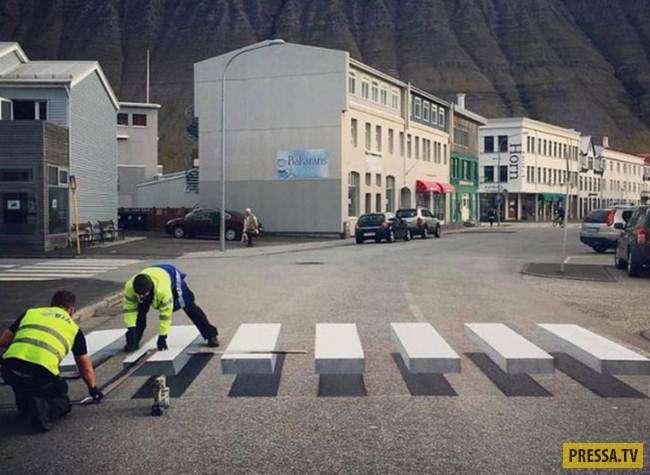 3D пешеходный переход в Исландии навсегда решил проблемы автомобилистов! (7 фото)