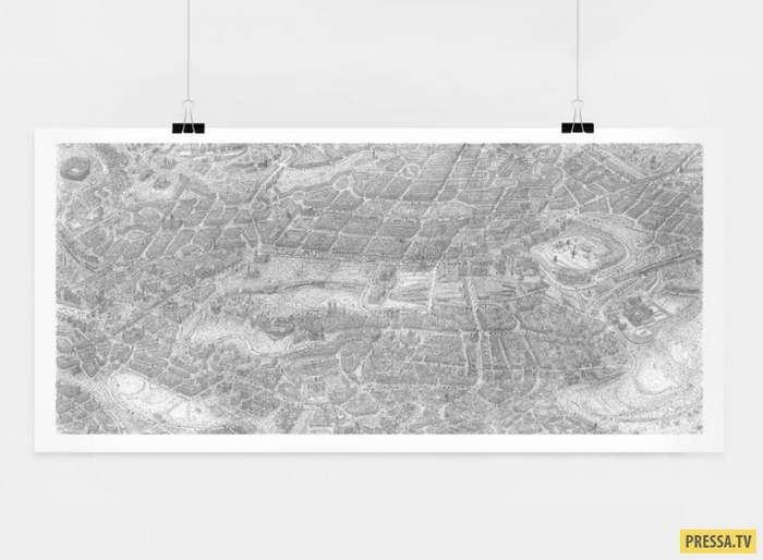 Художник удивил всех, нарисовав подробную карту города Эдинбурга (5 фото)