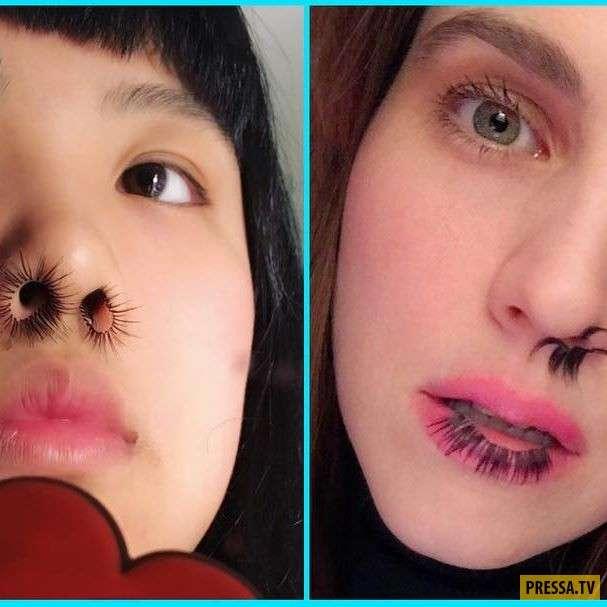 Кажется, мир сошел с ума: Девушки с ресницами в носу (6 фото)