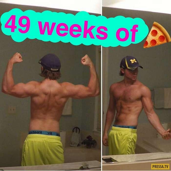 Американец Брайан Нортруп доказал - можно ежедневно есть пиццу и похудеть (12 фото)