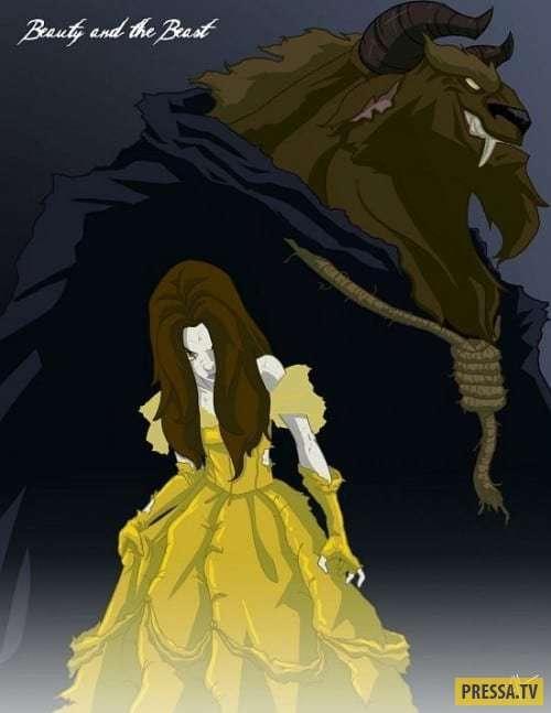 Если бы принцессы Дисней снимались в фильмах ужасов (15 фото)