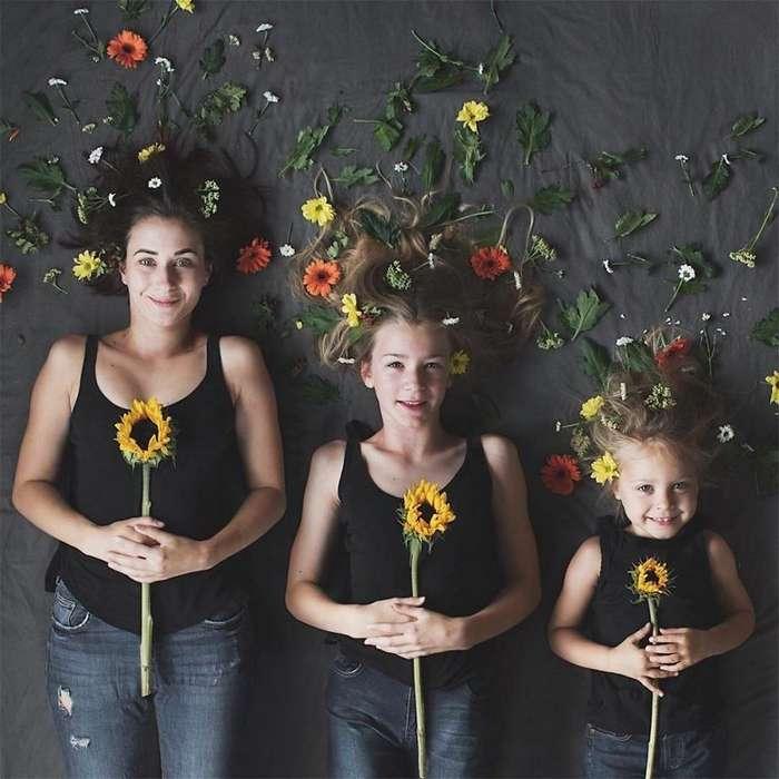 Мать со своими дочками создают милые снимки, на которых они наряжены в схожие одежды-21 фото-
