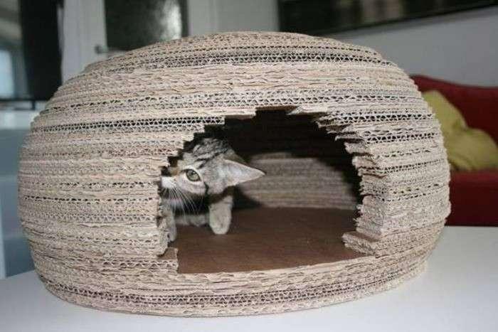 Как сделать дом для кота-7 фото-