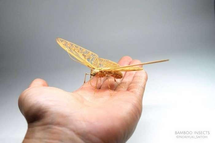 Невероятные скульптуры насекомых из бамбука-12 фото-