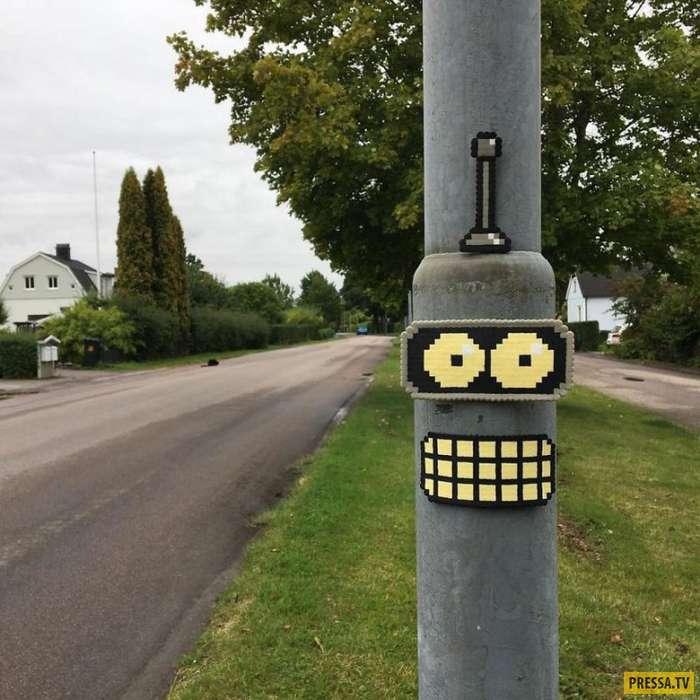 Художник из Швеции устраивает на улицах настоящее пиксельное хулиганство (25 фото)