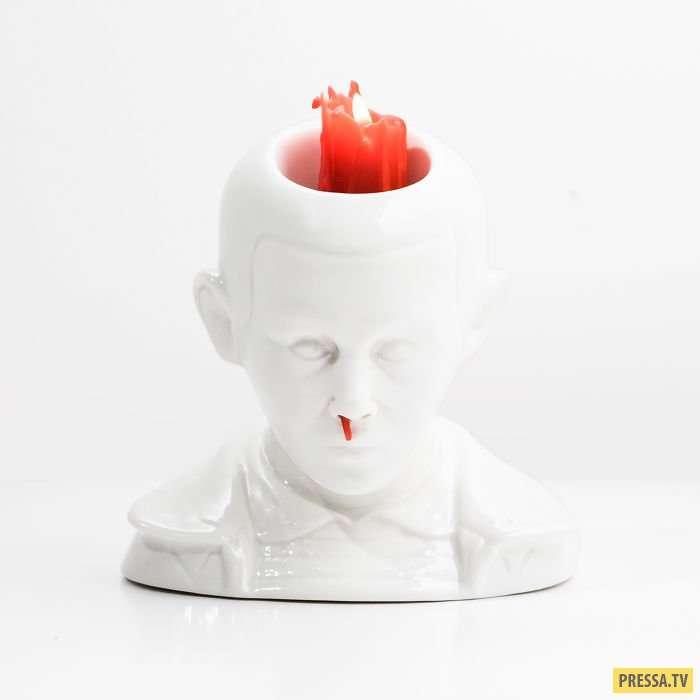 Эта свеча с кровавой соплей из носа – самый жуткий декор, какой только можно придумать! (3 фото)