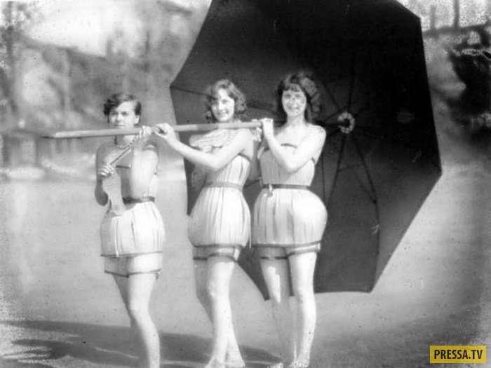Купальники из елового шпона. Американская мода начала 20 века (8 фото)