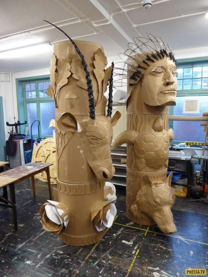 Удивительное творчество: Скульптуры из картонных коробок (15 фото)