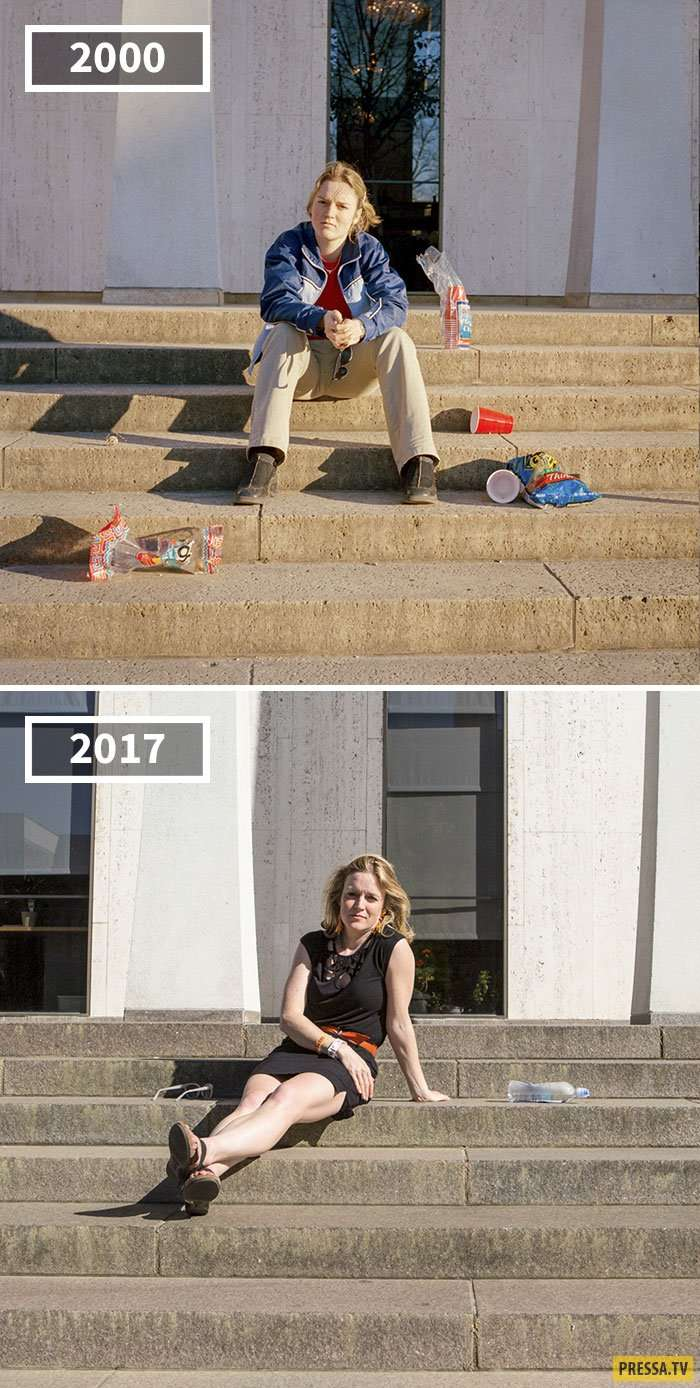 Сравнительные фотографии друзей в 2000 и 2017 году, воссозданные фотографом Жозефиной Ситтенфельд (11 фото)