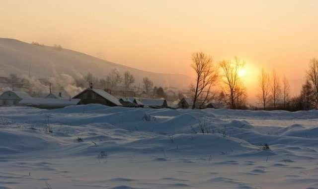 Морозное утро в деревне-20 фото-