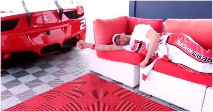 Доброе утро, солнышко! Брутальное пробуждение гонщика рёвом Ferrari 458-GT-2 фото-
