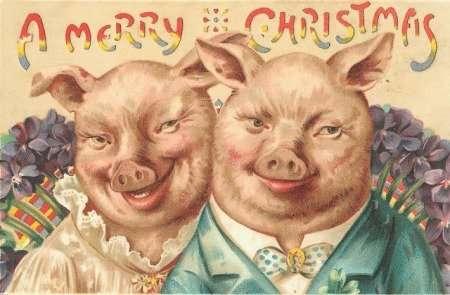 Рождественские и новогодние открытки начала XX века-21 фото-