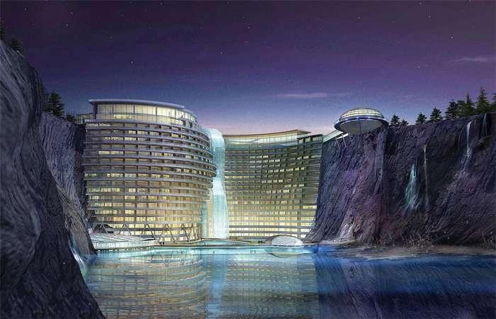 Китайцы заброшенный карьер превращают в элитный отель