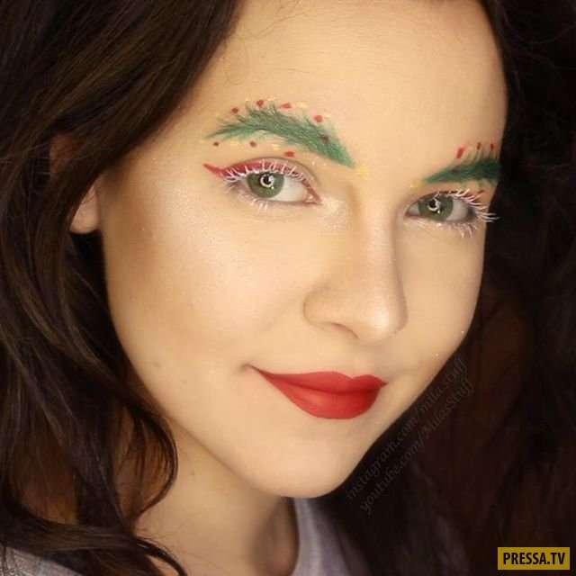 Новогодний тренд - брови-елки (9 фото)