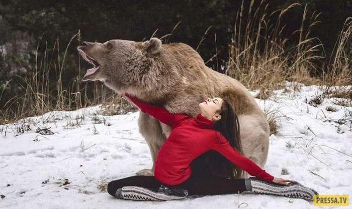 Финалистка конкурса талантов Стефани Миллингер и бурый медведь (8 фото + видео)