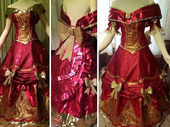 Эта девушка создает волшебные платья из оберточной бумаги на Рождество! (7 фото)