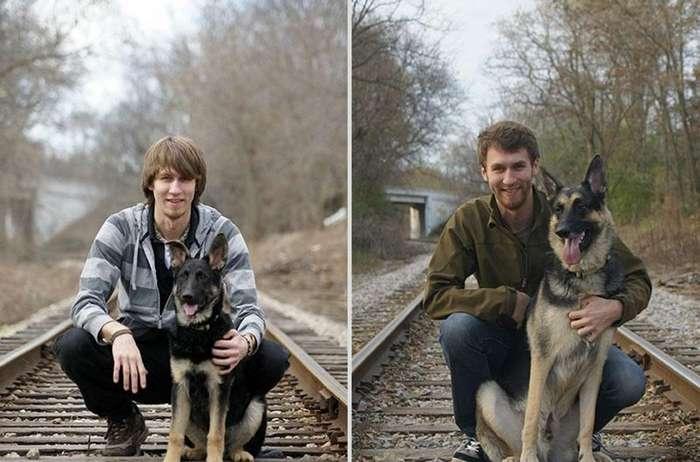 Очаровательные фото щеночков повзрослевших вместе с хозяевами