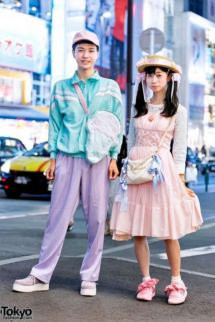 Стильные наряды японских модников на улицах Токио-35 фото-