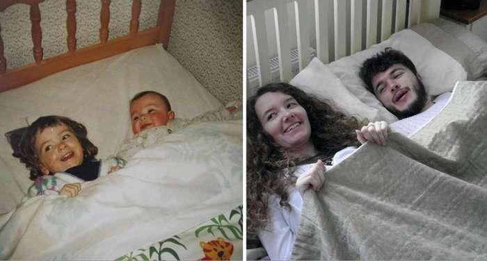 Брат с сестрой воссоздали детские фотографии для подарка родителям (10 фото)