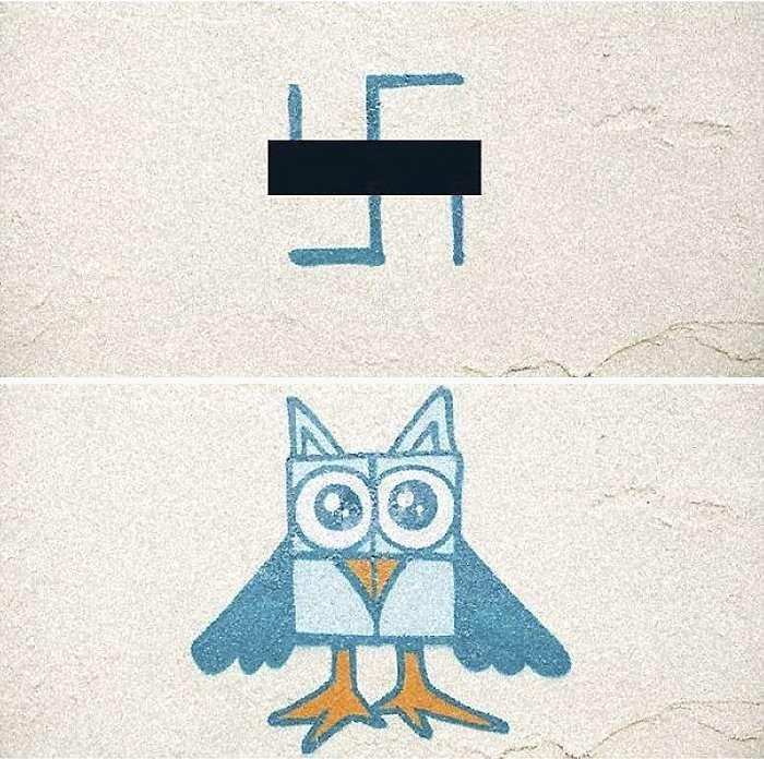 Художники-граффити борются со свастиками на домах Берлина (14 фото)