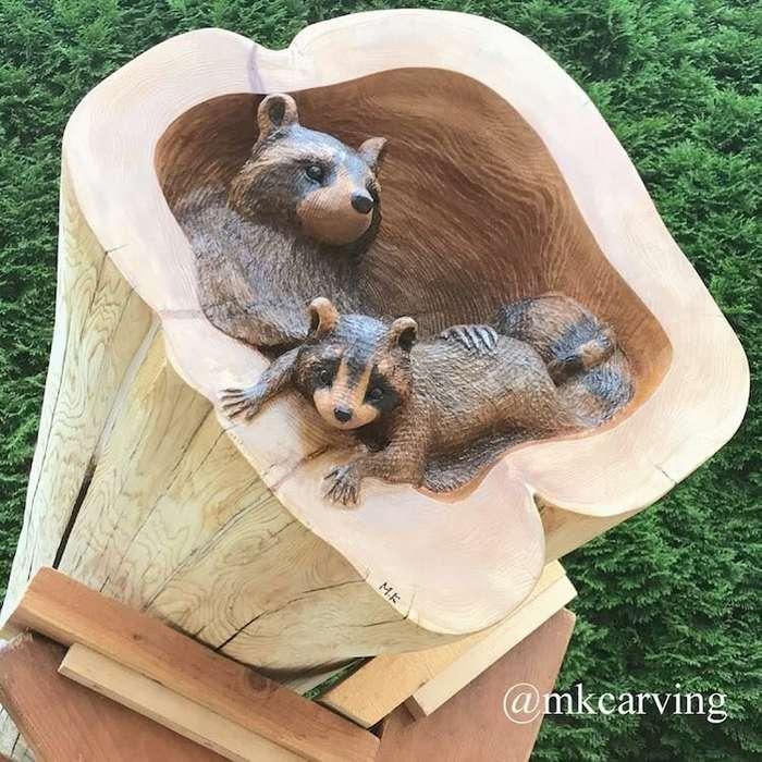 Художник делает скульптуры из поваленных деревьев-14 фото-