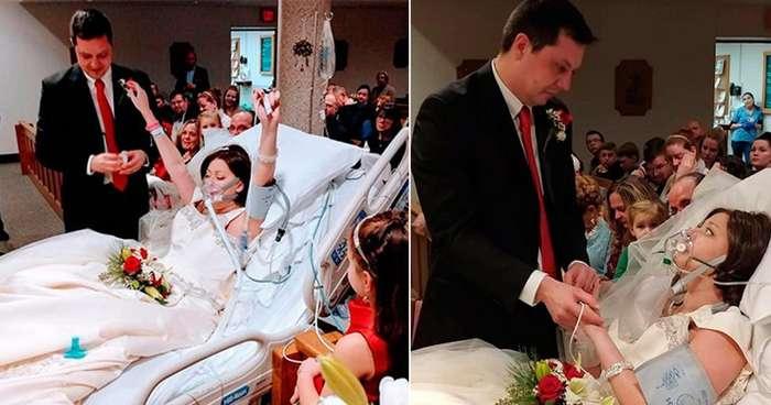 Больная раком девушка успела выйти замуж за несколько часов до смерти-8 фото-