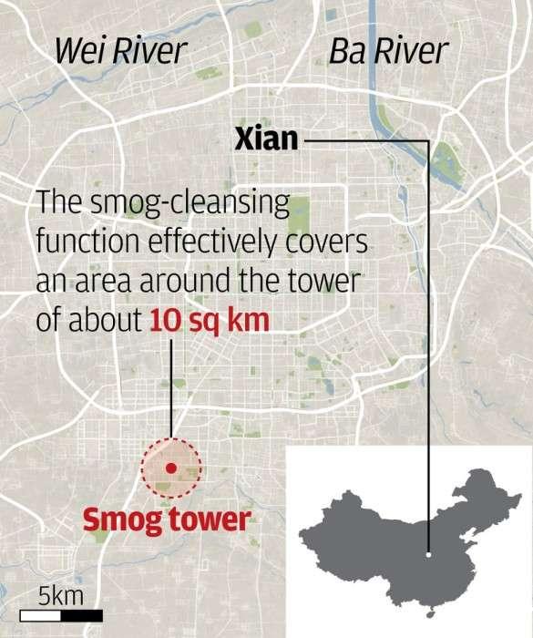 Для чего была построена башня высотой 100 метров посреди самого загрязненного города в Китае