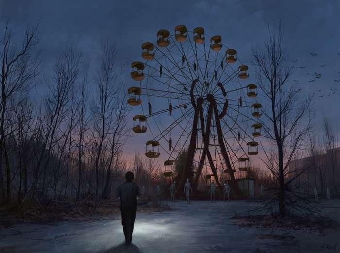 Чернобыльская история в жутких работах художника