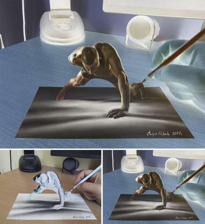 Потрясающие 3Д- рисунки сербского художника Николы Чулича