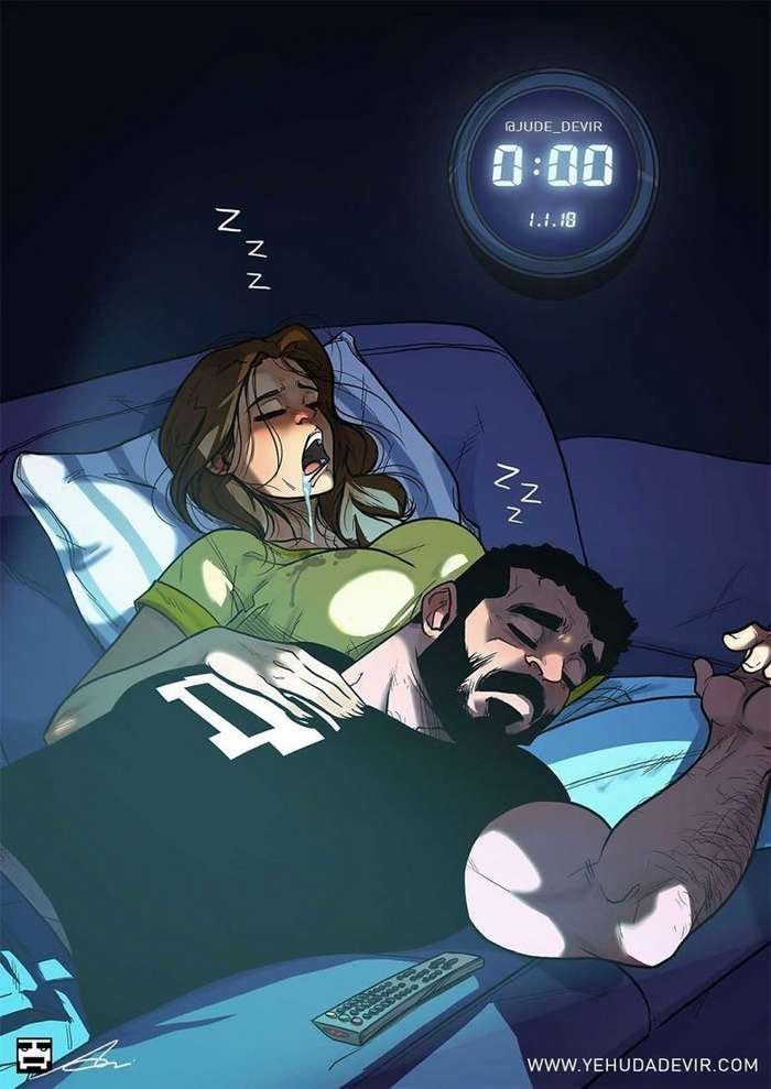 Какая она, жизнь с женой? Художник рисует чудесные комиксы о семейной жизни-16 фото-