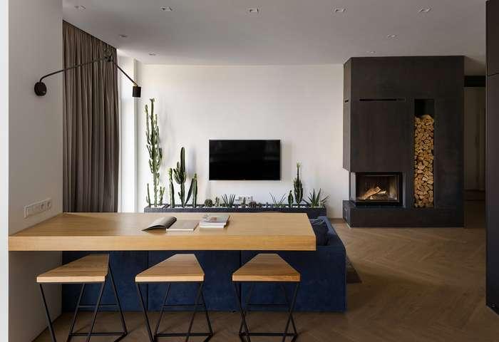 Современный интерьер трёхуровневой квартиры в Киеве