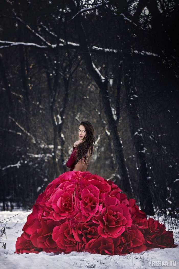 Бумажные цветочные платья