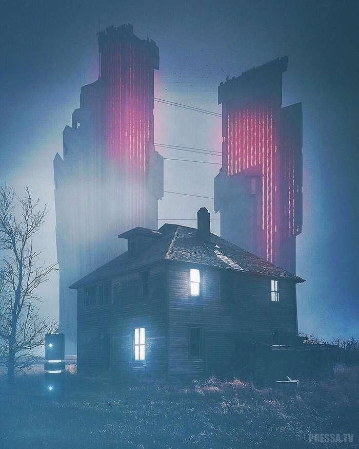 Фантастические киберпанки и пост-апокалиптические городские пейзажи Джастина Ледюка