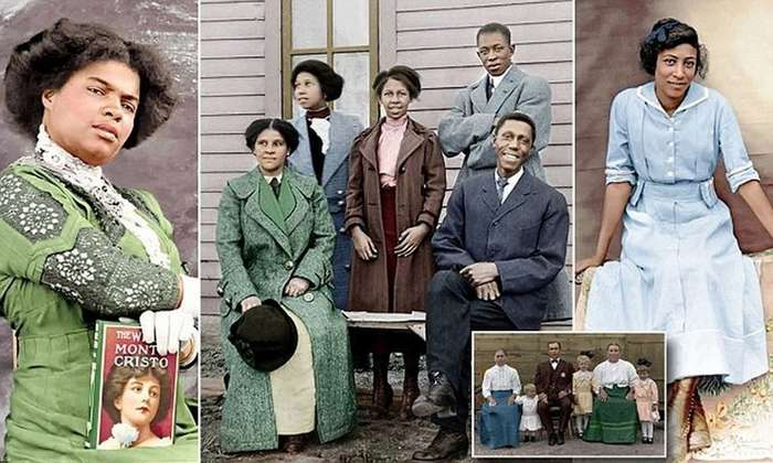 Афроамериканцы в эпоху расовой сегрегации: раскрашенные фотографии 1910-1925 гг-6 фото + 8 тянучек-