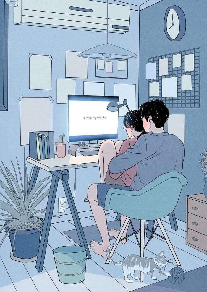 Как выглядит жизнь любящей пары: иллюстрации корейского художника Мён-Минхо-27 фото-