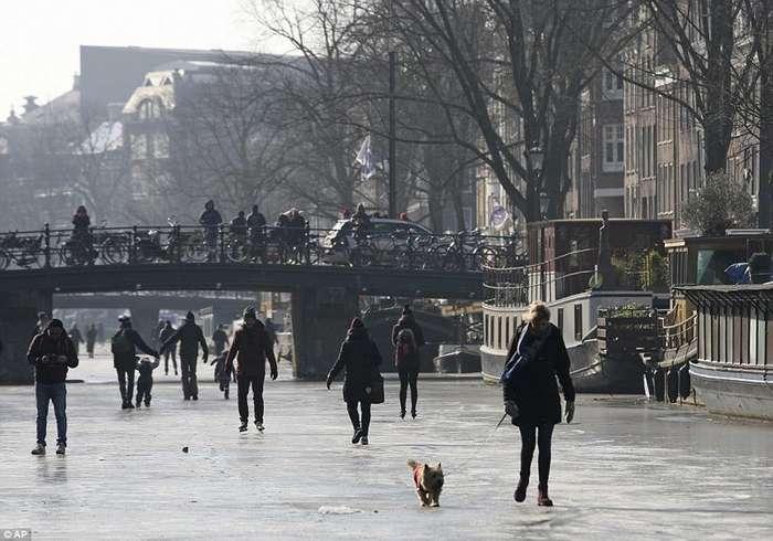 Из-за небывалых морозов каналы Амстердама превратились в каток-14 фото-