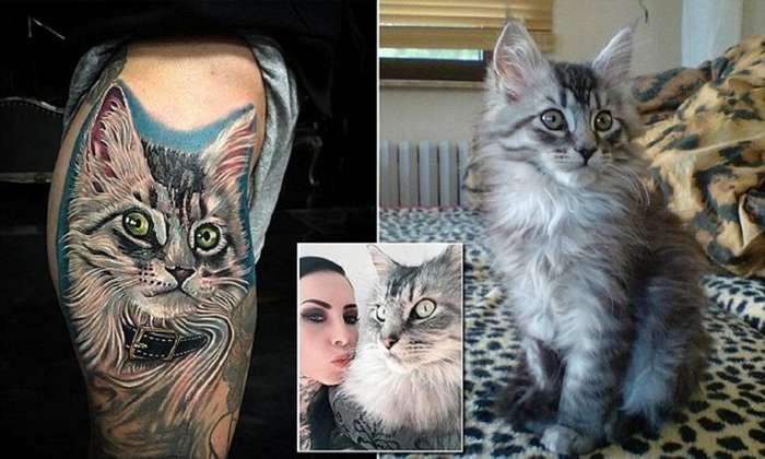 Женщина вытатуировала на теле портрет своего кота его собственной шерстью-11 фото-