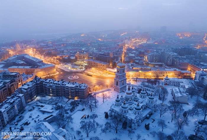 Зимний Киев с высоты