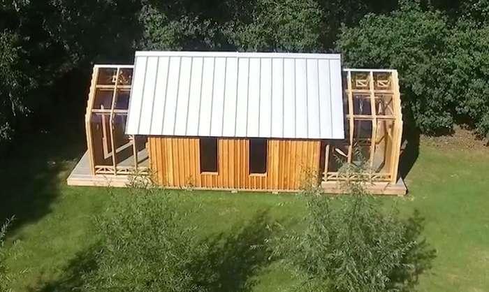 Удивительный раздвижной домик на берегу озера
