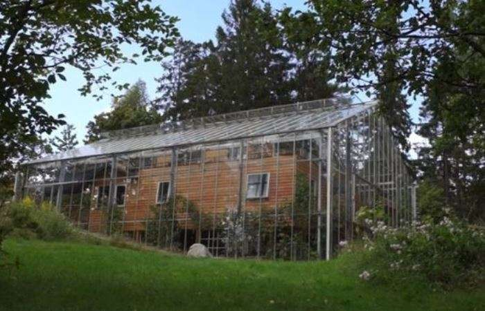 Чтобы не замерзать в плохую погоду, семья выстроила вокруг дома настоящую теплицу из стекла