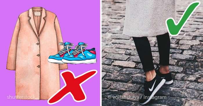 6 правил, как грамотно носить пальто с кроссовками