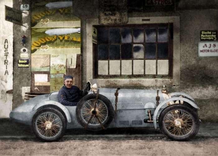Снимки автомобилей и мотоциклов начала 1900-х годов в цвете-7 фото-