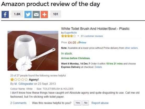Мужчина написал отзыв о туалетном ёршике и оставил интернет в недоумении