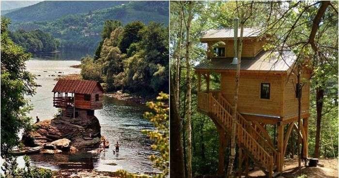 Уютные деревянные домики в лесу