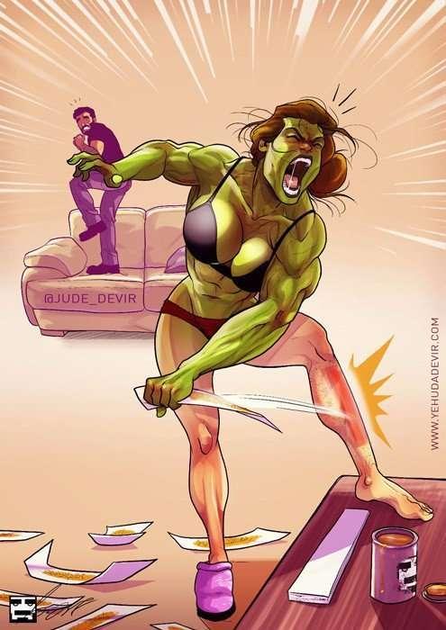 Остроумные комиксы израильского иллюстратора о том, как выглядит жизнь с женой.