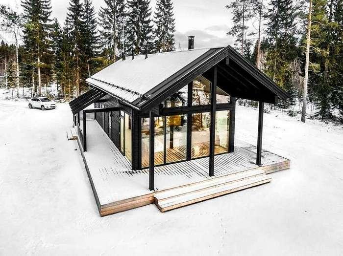 Дом из ламинированных деревянных брёвен в Финляндии