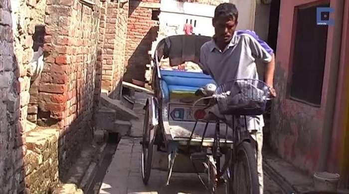 У него только одна рука и одна нога, но этот рикша проезжает каждый день по 50 км, чтобы прокормить семью